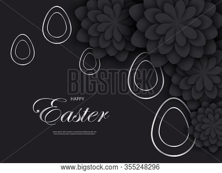 Silver easter egg with easter holiday greeting - Vector easter illustration. Happy easter greeting card. Silver easter paper cut flowers with Silver easter frames, holiday easter background. Vector easter  Silver easter illustration