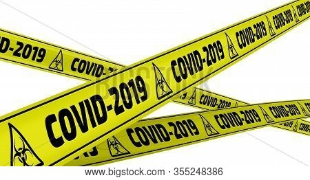 Covid-2019. Yellow Warning Tapes. Yellow Warning Tapes With Black Text Covid-2019 (the 2019 Novel Co