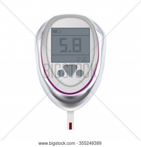 Glucose Meter Medical Electronic Equipment Vector. Digital Device For Measuring And Monitoring Blood