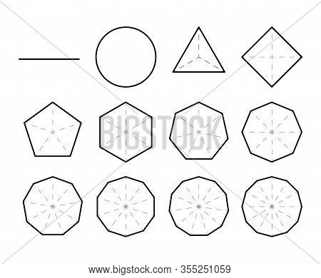Set Of Geometric Shapes. Polygons. Set Of Polygon Shapes With Different Sides.