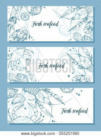 Hand Drawn Vector Seafood Horizontal Banner. Seafood Sketch Poster. Vintage Illustration For Restaur