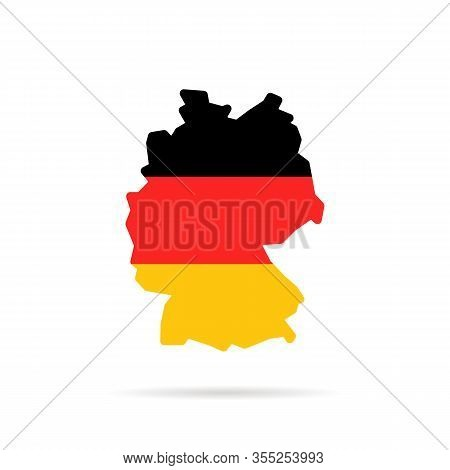 Simple Color Germany Map With Shadow. Concept Of Travel To Deutschland Or Country Border Label. Flat