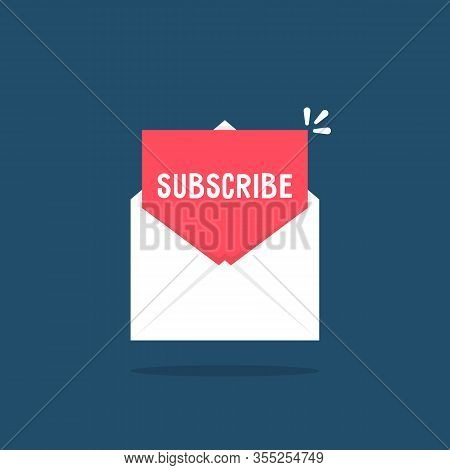 White Letter With Subscribe Newsletter. Concept Of Create Profile In Social Or Mass Media Like Websi