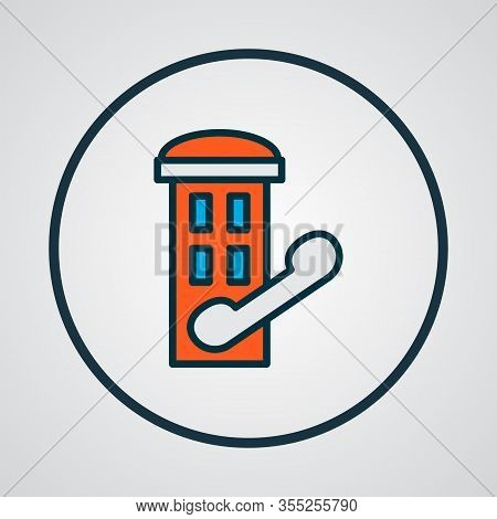 Telephone Box Icon Colored Line Symbol. Premium Quality Isolated Phone Cabin Element In Trendy Style