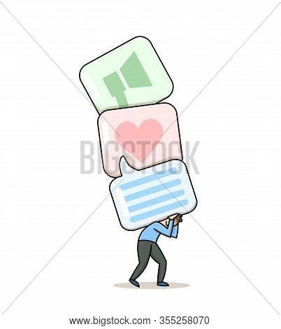 Man Carrying Big Social Media Icons Speech Bubbles. Gadget Addiction, Social Media Dependency Concep