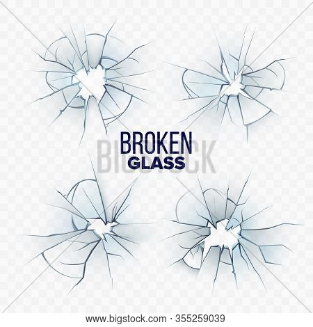 Broken And Smashed Glass Collection Set Vector. Different Accident Crashed, Damaged And Shattered Gl
