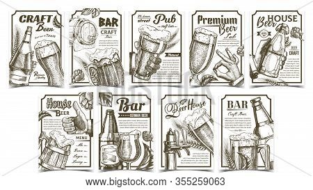 Beer Pub Collection Advertising Posters Set Vector. Wooden Barrel And Glass Cups, Bottles And Bar Fa