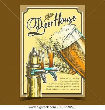 Beer House Freshness Drink Advertise Poster Vector. Glass Cup Brewery With Foam Alcoholic Drink Beer