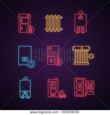 Heating Neon Light Icons Set. Boilers, Radiators, Water Heaters. Gas, Electric, Solid Fuel, Pellet,