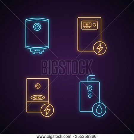 Heating Neon Light Icons Set. Central Heating System. Electric And Gas Water Heater And Heating Boil