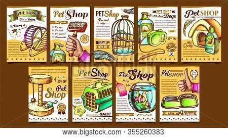Pet Shop Assortment Advertising Posters Vector. Aquarium And Birdcage, Running Wheel And Food Bowl,