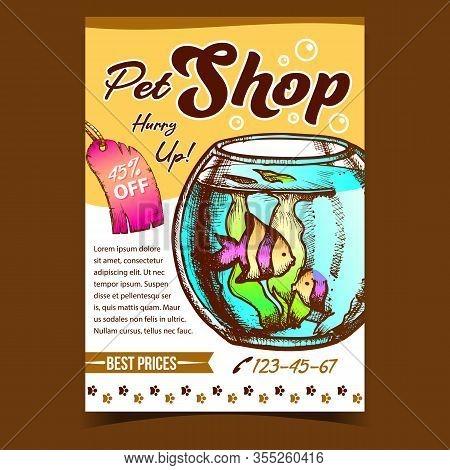 Pet Shop Aquarium On Advertising Poster Vector. Aquarium Fishbowl With Decorative Fish And Seaweed O