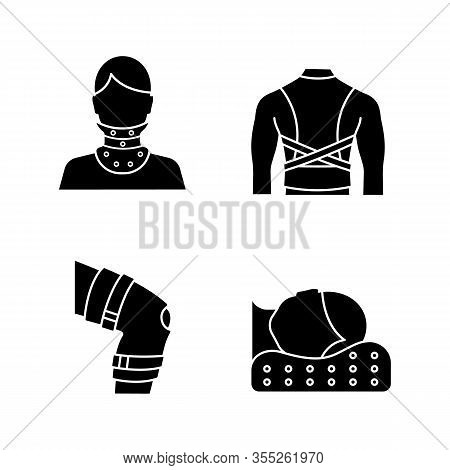 Trauma Treatment Glyph Icons Set. Cervical Collar, Posture Corrector, Knee Brace, Orthopedic Pillow.