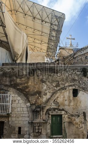 Old Buildings In A Coptic And Ethiopian Part Of The Complex Of The Basilica Of The Holy Sepulchre In