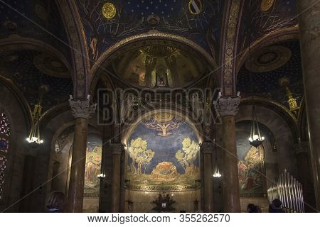 Interior Of The Church Of All Nations Also Known As The Basilica Of The Agony In Jerusalem. Israel