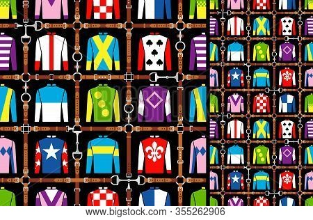Seamless Pattern Jockey Uniform. Traditional Design. Silk. Harness, Bridle, Harness, Belt. Horse Rac
