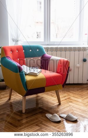 Home Decor Interior With Colored Chair. Domestic Lifestyle. Home Decor. Home Interior With Chair. Be