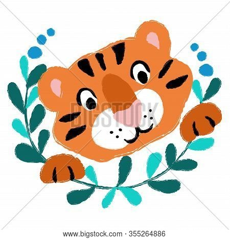 Vector Tiger Cub Baby Head Wild Animal With Flower Wreath Cartoon Cute Childish Card Textile Paper D