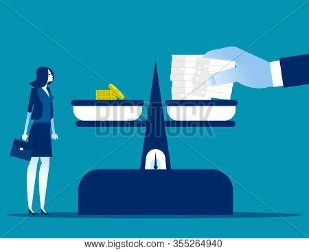 Workload Doubling While Salary Stays The Same. Concept Business Working And Finance Vector Illustrat