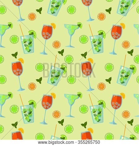 Seamless Funny Pattern Of Summer Low-alcohol Cocktails. Aperol Spritz And Mojito On A Green Backgrou