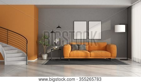 Modern Gray And Orange Living Room, Concrete Staircase With Steel Railing - 3d Rendering