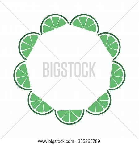 Round Green Frame Composed Of Tropical Slices Lime Fruit. Vector Card Illustration. Circle Citrus Or
