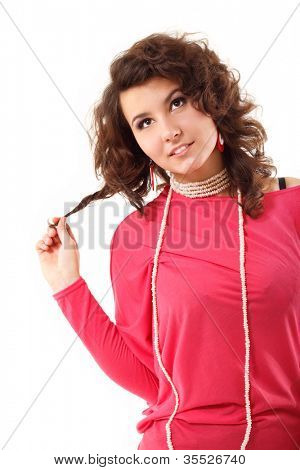 young pensive smiling woman isolated on white