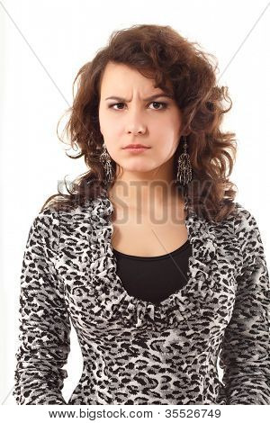 young angry woman guarded look isolated on white