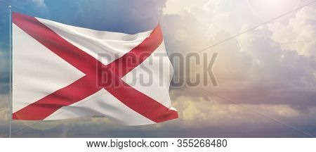 Flags Of The States Of Usa. State Of Alabama Flag. Waving Flag On Sunset Sky Background 3d Illustrat