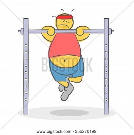 Lazy Fat Funny Doodle Man Can't Pull Up On The Horizontal Bar. Bad Diet Concept. Tired Overweight At
