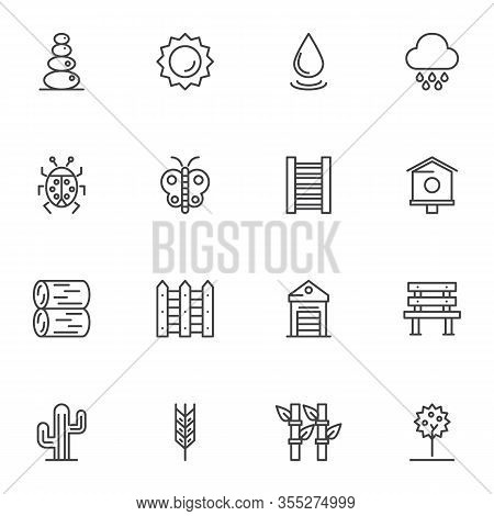 Springtime Line Icons Set. Linear Style Symbols Collection, Gardening Outline Signs Pack. Vector Gra