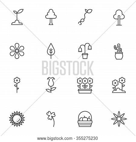 Spring Flowers Line Icons Set. Linear Style Symbols Collection, Outline Signs Pack. Vector Graphics.