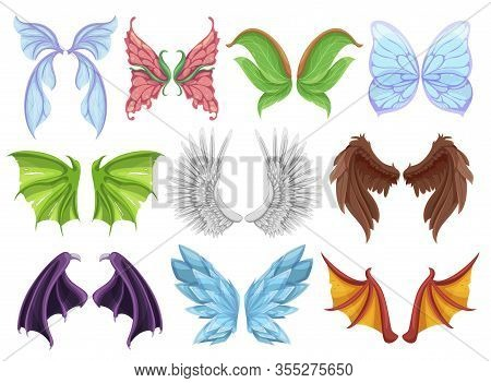 Mythical Animal Wings Set, Decorative Creature Sign Or Emblem