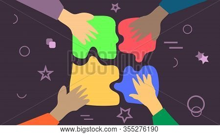 Business Concept. Symbol Of Teamwork. Team Metaphor. Hands Connecting Puzzle Elements. Coworking And