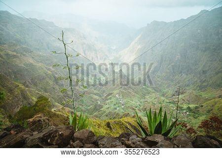 Santo Antao Island, Cape Verde. Lombo De Pico In Xo Xo Valley On Hiking Route Trail Over Rabo Curto