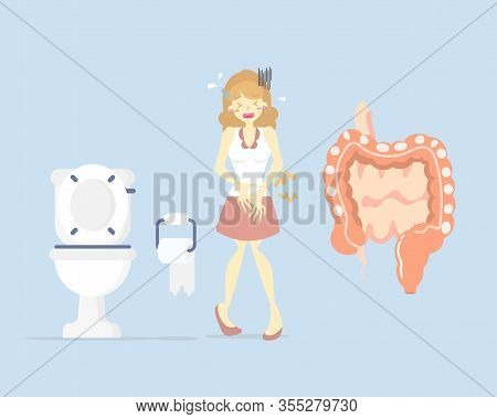 Woman Having Stomach Ache, Needing To Urinate, Holding Her Bladder Pee, Poo With Small And Large Int