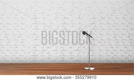 Platform For Stand Up Comedy Show Template . Silver Metal Leg Microphone, Wooden Floor And White Bri