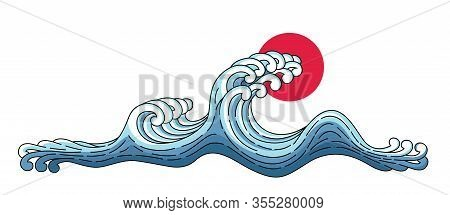 Wave And Big Red Sun. Vector Japan Wave Isolated On A White Background. Japanese Oriental Style Vect