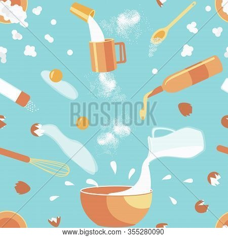 Seamless Pattern Of Baking Ingredients. Cookies Cooking Concept. Ingredients Hover Over A Bowl In Wh