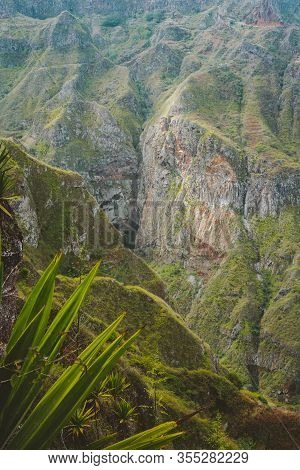 Santo Antao, Cape Verde. Breathtaking View Of Canyon With Steep Cliff And Winding Riverbed With Lush