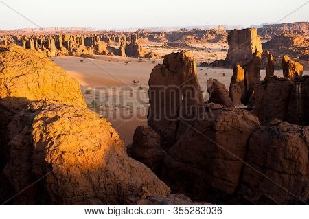 Beautiful Sahara Landscape During Sundown In Ennedi,  Chad