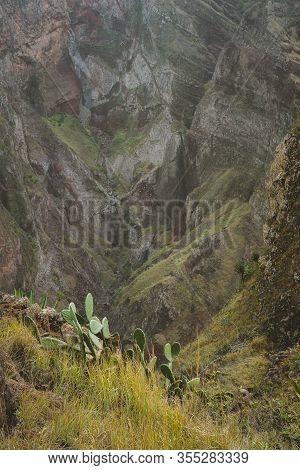 Coculi Santo Antao Island, Cape Verde Cabo Verde. Impressive Mountain Landscape, Cultivation Of Lotu
