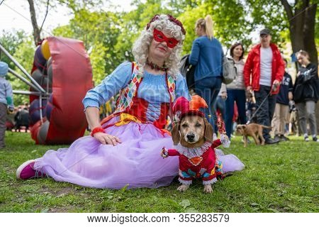 Russia, St. Petersburg, May 25, 2019: Event With Dogs Called Dachshund Parade. Costume Procession, A