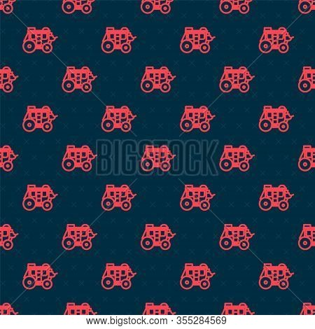 Red Line Western Stagecoach Icon Isolated Seamless Pattern On Black Background. Vector Illustration