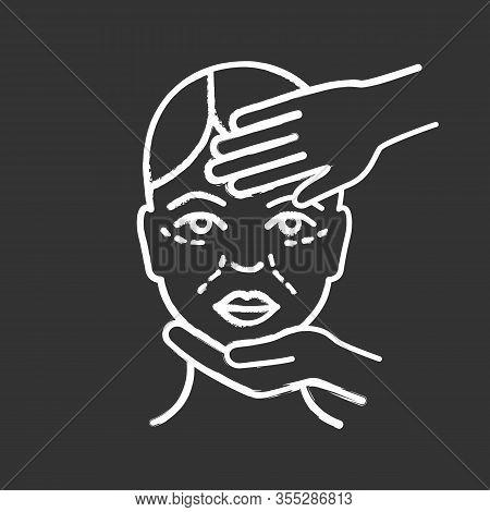 Cosmetologist Examination Chalk Icon. Cosmetology. Cosmetic Procedure. Neurotoxin Injection Preparat