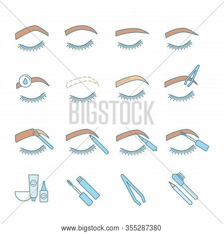 Eyebrows Shaping Color Icons Set. Brows Microblading And Tattoo Procedure. Eyebrows Permanent Makeup