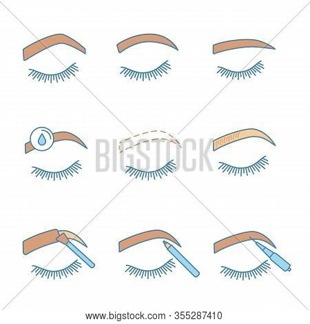 Eyebrows Shaping Color Icons Set. Steep Arched, Rounded, Straight Brows, Makeup Removal, Microbladin