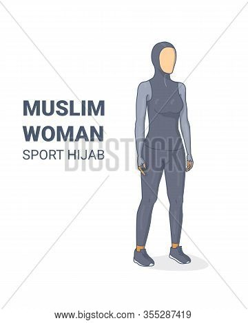 Sporty Hijab Muslim Girl Ready For Exercises Silhouette.