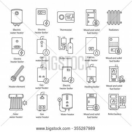 Heating Linear Icons Set. Thin Line Contour Symbols. Boilers, Radiators, Thermostat. Gas, Electric,