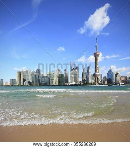 Waves Of The Coastline At Shanghai Skyline